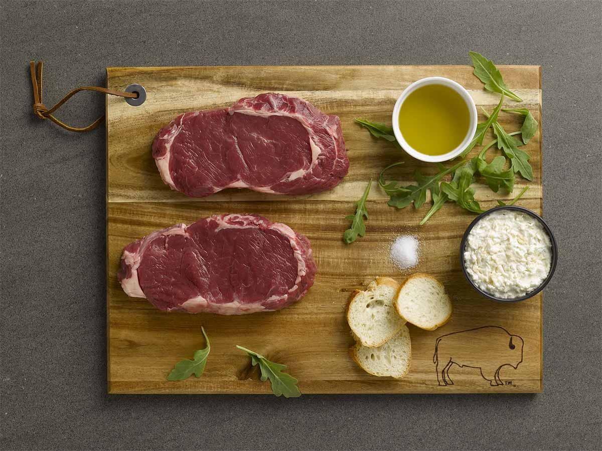 Bison Ribeye Steak Horseradish Crostini