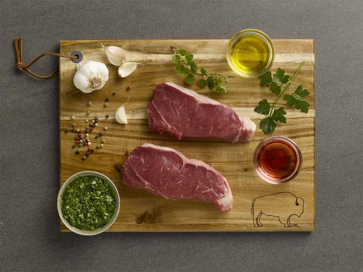 Bison Strip Steaks Chimichurri
