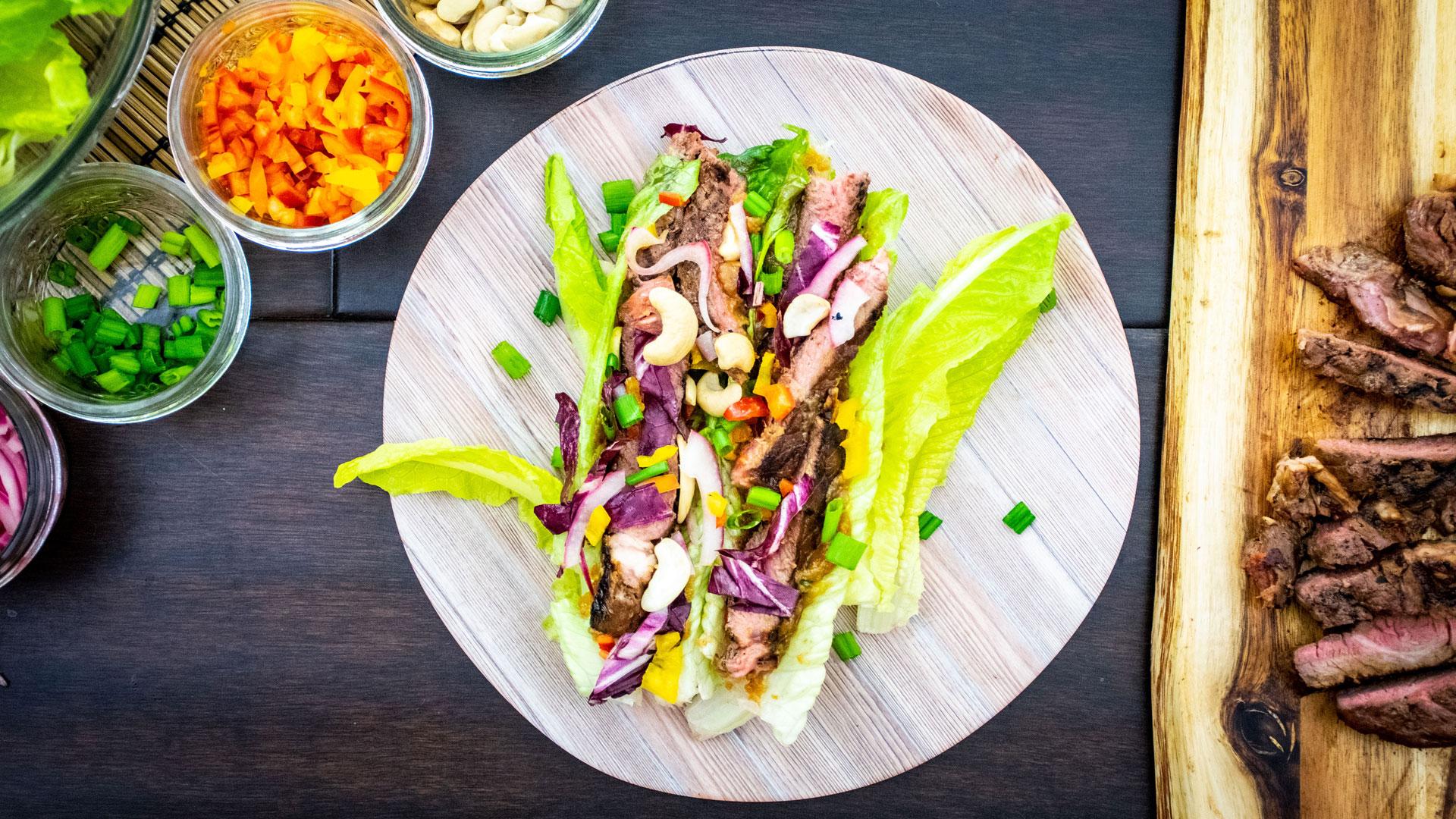 Bison Ribeye Thai Lettuce Wraps
